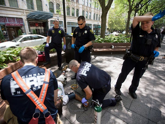 Cincinnati police and fire respond to an overdose at