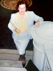 Dorothy Deacon was a Court Appointed Special Advocate in York Conty. She stands in the former York County Courthouse, now the York County Administrative Center