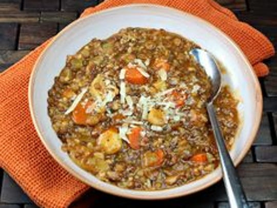 Slow Cooker Wild Rice Stew with Lentil and Butternut Squash