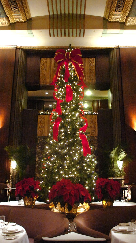 The Palm Court at The Cincinnati Hilton Netherland Plaza, decorated for Christmas