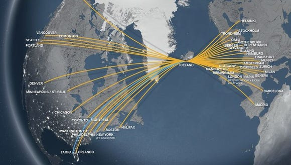 This route map provided by Icelandair shows the carrier's