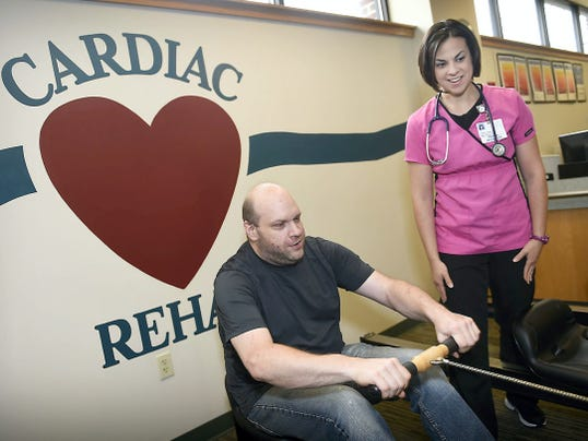 Lindsay Pugliese works with cardiac patient Jason Brommer this week in the cardiac rehabilitation unit at the Good Samaritan Hospital in Lebanon. The Center for Workforce Information and Analysis recently ranked the hospital second in the county for the number of employees. Fort Indiantown Gap has the most employees.
