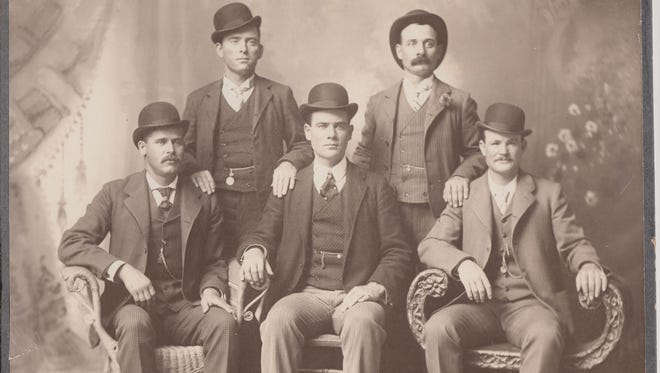 The Fort Worth Five. Left to right: Harry Alonzo Longabaugh (The Sundance Kid), William Carver (News Carver), Benjamin Kilpatrick (The Tall Texan), Harvey Logan (Kid Curry), and Robert Leroy Parker (Butch Cassidy).