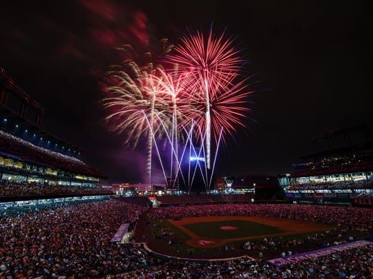 Fireworks explode over the stadium after the Colorado Rockies defeated the San Francisco Giants 8-1 at Coors Field on July 3, 2018 in Denver, Colorado