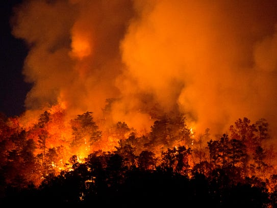 A wildfire in Blount County on Thursday, November 17,