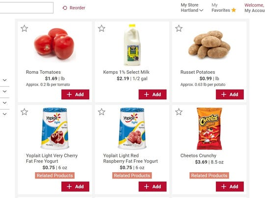 "This screenshot shows reporter Bob Dohr's previous order when he selected the ""purchased by me"" view option on the Sendik's Food Market's website. Six of the items are shown, but all of the items pop up on the screen."