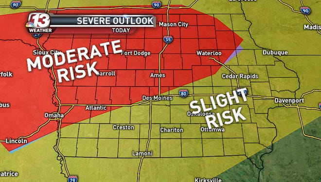 Most of Iowa is under a moderate or slight risk of severe weather.