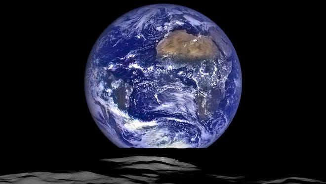 Cameras operated by Arizona State University captured this image on Oct. 12, 2015, of the moon and Earth. The cameras are mounted on a spacecraft orbiting the moon.