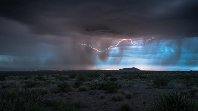 A thunderstorm develops over the Mesilla Valley on May 30, 2017.