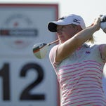 Stacy Lewis tees off in the second round of the Yokohama Tire LPGA Classic at the Robert Trent Jones Golf Trail at Capitol Hill in Prattville, Ala. on Friday September 19, 2014.