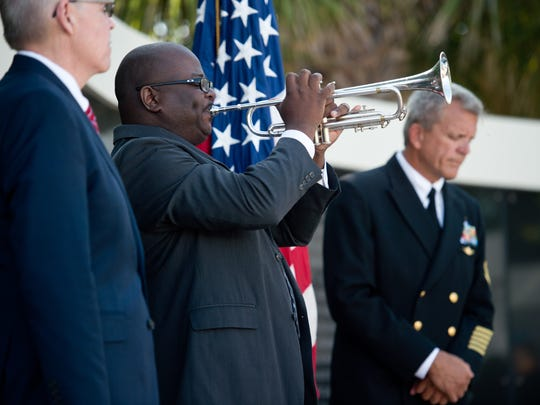 Fallen veterans are honored during the Memorial Day service Monday, May 29, 2017, at the National Navy UDT-SEAL Museum in Fort Pierce.