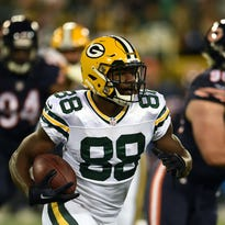 GREENBAY, WI - OCTOBER 20: Wide receiver Ty Montgomery #88 of the Green Bay Packers carries the ball against the Chicago Bears in the first quarter at Lambeau Field on October 20, 2016 in Green Bay, Wisconsin. (Photo by Stacy Revere/Getty Images) ORG XMIT: 663672671 ORIG FILE ID: 615937106