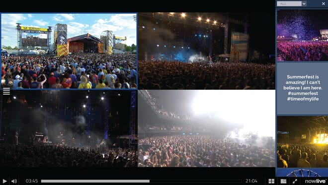 Live Media Group's NowLive video player can show four simultaneous live concert streams and is interactive, letting you choose what stage or angle to watch.