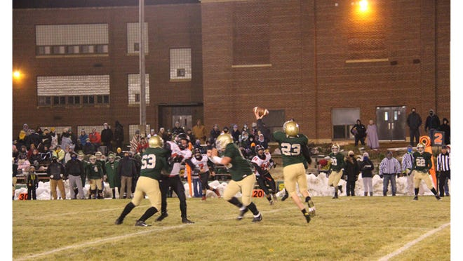 Braden Hansen catches a pass during the Knights second scoring drive during their Homecoming victory on Oct. 23.