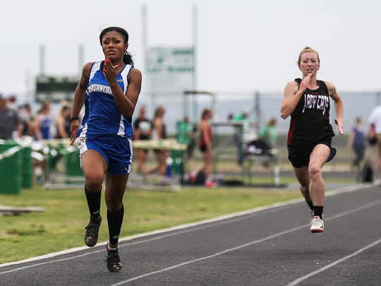 Reagan County's Jayslynn Reyes races in the 100 meters during the District 4-3A Track and Field Championships Friday, April 6, 2018, at Wall High School.