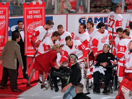 At the Red Wings banner-raising ceremony, owner Mike