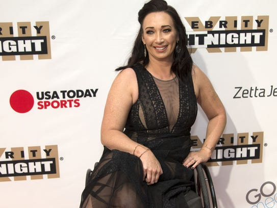 Olympic champion Amy Van Dyken on the red carpet for