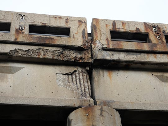 Damage to one of the giant Goddard Road bridges.
