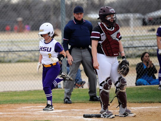 Hardin-Simmons' Cierra Woodyard (2) crosses home plate