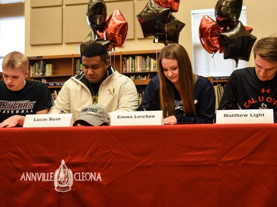 Annville-Cleona student-athletes, from left, Alec Barr (Lehigh Carbon Community College, baseball), Lucas Bush (Millersville University, football), Emma Lerchen (Penn State - Harrisburg, softball) and Matt Light (California University Pa., soccer) participated in National Signing Day ceremonies at the school on Wednesday to announce their collegiate athletics intentions.