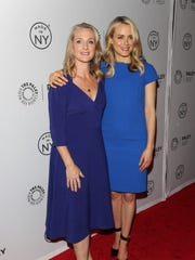 """In this file photo, Piper Kerman, left, and Taylor Schilling attend viewing of """"Orange is the New Black"""" in New York City."""