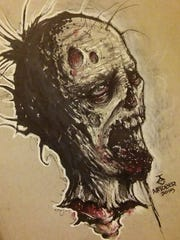 """Zombie,"" a graphite-on-paper piece by Time Essary is part of a Halloween-theme exhibition being shown at 101 S. Orchard Ave. during the fall art walk on Friday, Oct. 14."