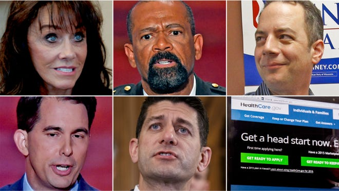 Winners and loser from the presidential election. Winners (from top left): Diane Hendricks, David Clarke, Reince Priebus. Losers (from bottom left): Scott Walker, Paul Ryan, the Affordable Care Act.