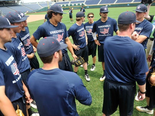 Vanderbilt pitching staffs and pitchers gather during practice at the College World Series at TD Ameritrade Park in Omaha, Neb., Sunday, June 22, 2014.