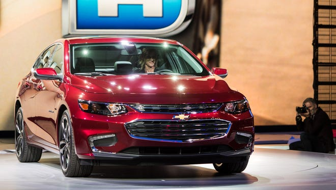 The 2016 Chevrolet Malibu Hybrid is unveiled Wednesday, April 1, 2015 at the New York International Auto Show in New York, New York.