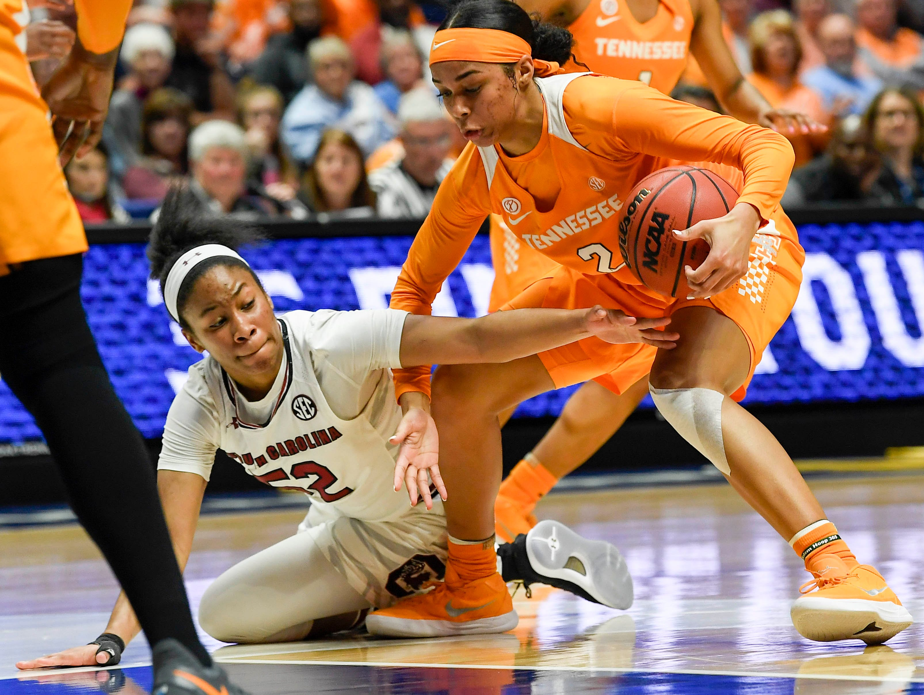 South Carolina Gamecocks guard Tyasha Harris (52) tries to knock the ball out of the hands of Tennessee Lady Volunteers guard Evina Westbrook (2) during round 3 of the SEC Women's Basketball Tournament at the Bridgestone Arena in Nashville, Tenn., Friday, March 2, 2018.
