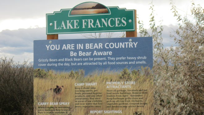 Montana Fish, Wildlife and Parks has erected new signs near Lake Frances by Valier alerting recreationists about grizzly bears that now frequent the area.