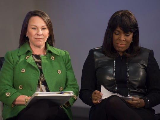 Representative Martha Roby and Congresswoman Terri Sewell sit during a press conference about the creation of the Montgomery Cyber Connection, the first Internet Exchange in the state of Alabama, on Wednesday, Jan. 20, 2016. The City of Montgomery aligned defense, public and private partners to create the internet exchange.