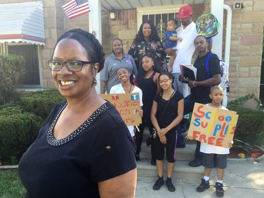 Anita Martin and her friends and family give away backpacks, pencils, notebooks and more to children.