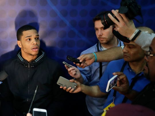 Miles Bridges, from Michigan State, talks to reporters during the NBA combine Thursday.