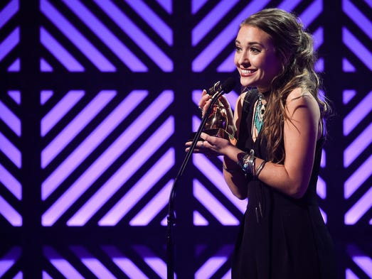 Lauren Daigle accepts the Artist of the Year award