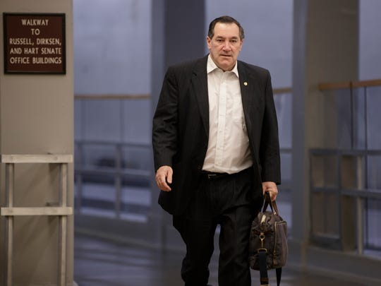 Sen. Joe Donnelly, D-Ind., arrives on Capitol Hill
