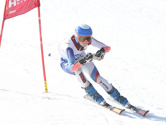 Byram Hills' Ben Gordon competes in the Section 1 skiing