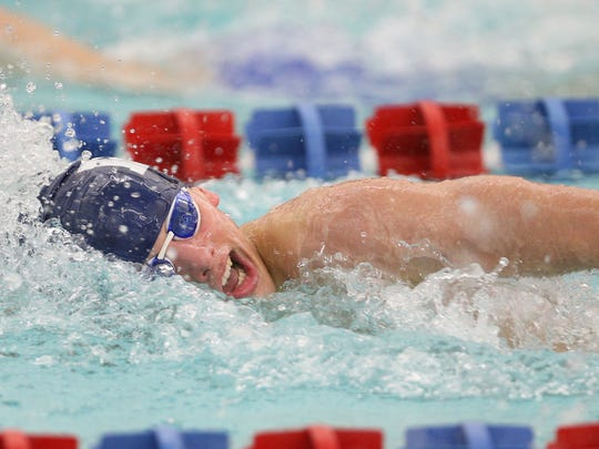 Pittsford's Liam Murphy in the 200 freestyle during a meet against Fairport last season.