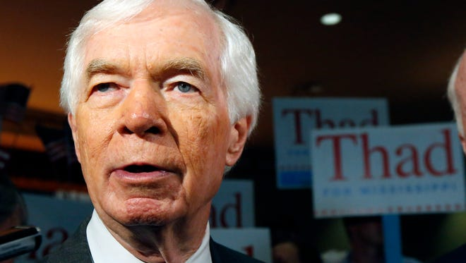Sen. Thad Cochran, R-Miss., responds to a reporter's question at a Cochran for Senate rally at the Mississippi War Memorial in Jackson, Miss., Monday, June 23, 2014.