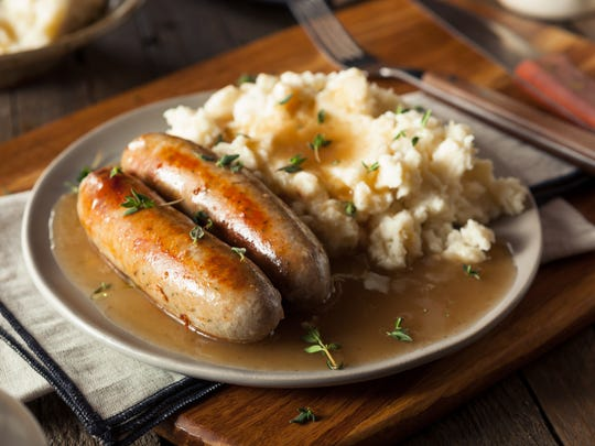 BANGERS AND MASH: Sausages and mashed potatoes.