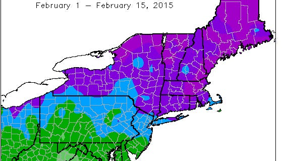February has been much colder than normal in most of the Northeast