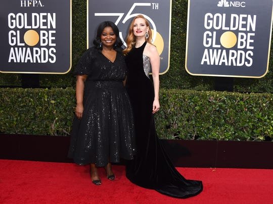 Octavia Spencer, left, and Jessica Chastain arrive