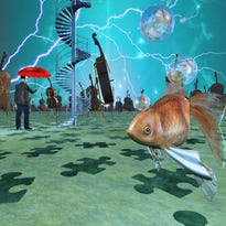 Surreal scene with various eelements.