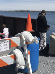 A family enjoys a morning at the Colchester Causeway bridge in Lake Champlain on Saturday, May 12, 2018.