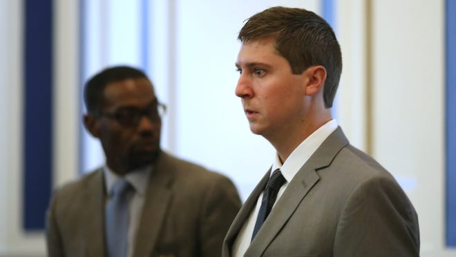 Ray Tensing enters  Hamilton County Common Pleas Judge Meghan Shanahan's courtroom for the start of his trial. The former University of Cincinnati police officer is charged with murder in the shooting death of Samuel DuBose. Tensing remains free on a $1 million bond. His attorney Stew Mathews has said Tensing fired a single shot because he feared for his life.