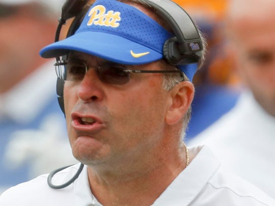 Pittsburgh head coach Pat Narduzzi works the sideline as his team plays against Ohio in an NCAA college football game, Saturday, Sept. 7, 2019, in Pittsburgh. (AP Photo/Keith Srakocic) ORG XMIT: PAKS