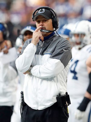 Indianapolis Colts head coach Chuck Pagano watches from the sidelines during the first half of an NFL football game against the Minnesota Vikings Sunday, Dec. 18, 2016, in Minneapolis. (AP Photo/Charlie Neibergall)