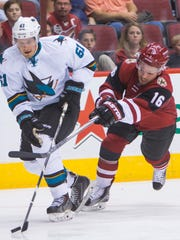 Coyotes rookie winger Max Domi (16) has started his
