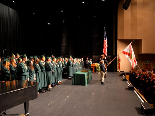 The Melbourne Central Catholic High School class of 2017 fills the stage at the King Center during graduation in May.