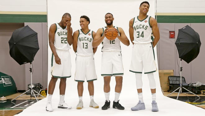 Khris Middleton (from left),  Malcolm Brogdon, Jabari Parker (12) and  Giannis Antetokounmpo are just part of a Bucks team that has stayed mostly in tact from last season.